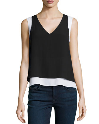 Briar Sleeveless Illusion Top, Black/White