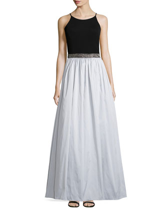 Sleeveless Beaded-Waist Combo Gown