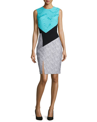 Crewnck Colorblock Sheath Dress, Turquoise