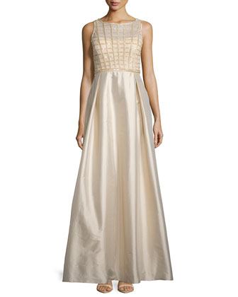 Sleeveless Sequined-Bodice Taffeta Gown