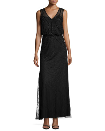 Sleeveless Sequined Blouson Column Gown