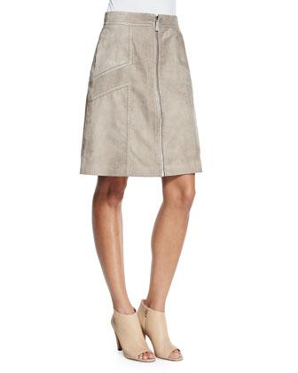 Turner Zip-Front Suede Skirt