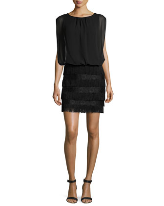 Blouson-Topped Fringe Cocktail Dress