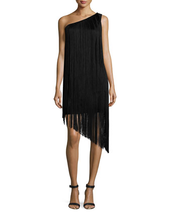 One-Shoulder Fringe Cocktail Dress