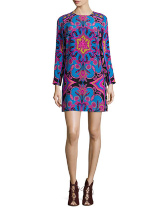 Zoey Long-Sleeve Printed Shift Dress, Blue/Pink
