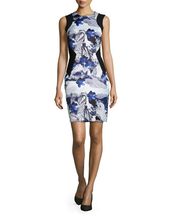 Sleeveless Combo Sheath Dress, Navy