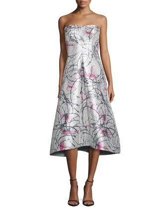 Strapless Printed Tea-Length Gown