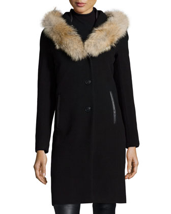 Fur-Trim Hooded Wool-Blend Coat W/ Leather Detail