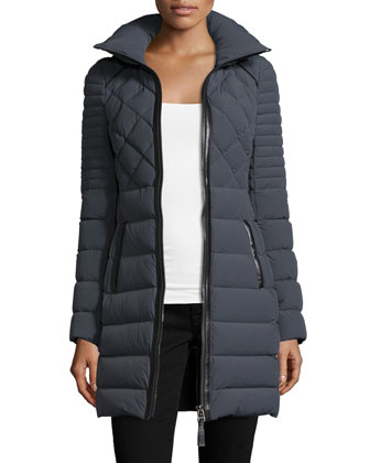 Puffer Long Jacket with Leather Trim