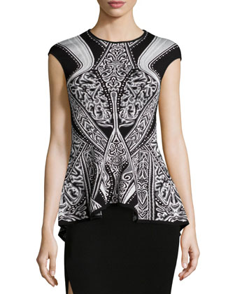Cap-Sleeve Geometric-Print Peplum Top