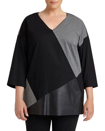 3/4-Sleeve Colorblock Top, Women's
