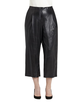 Leather Cropped Pants, Black, Women's