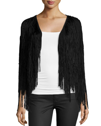 Long-Sleeve Fringe Jacket, Black