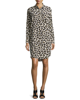 Long-Sleeve Ocelot-Print Shirtdress