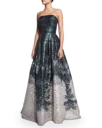 Strapless Printed Ball Gown