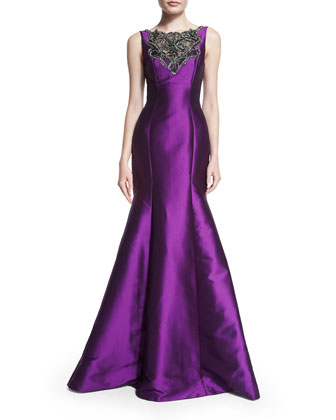 Sleeveless Illusion Lace Bodice Mermaid Gown