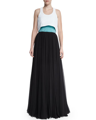 Flyaway Embellished Bustier Gown, Turquoise