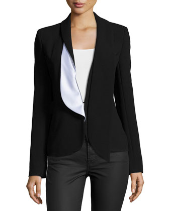 Two-Tone Blazer W/Asymmetric Lapel, Black
