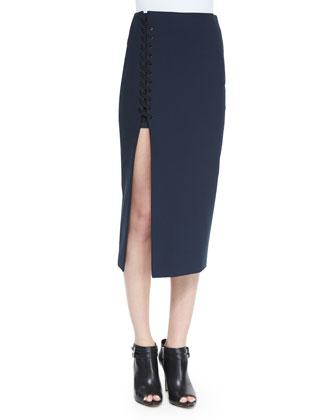 Turtleneck Sleeveless Top & Kennedi Lace-Up Midi Skirt