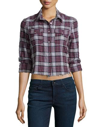 Buckley Shirt W/Frayed Hem, Black Cherry/Plaid