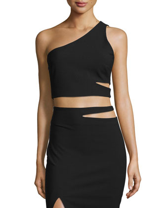 Perla One-Shoulder Cutout Top, Black