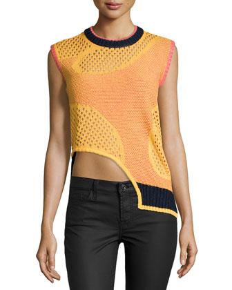 Sleeveless Asymmetric-Hem Sweater, Sunflower