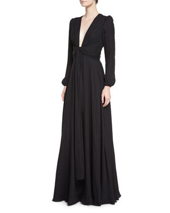 Long-Sleeve Waist-Tie Georgette Gown