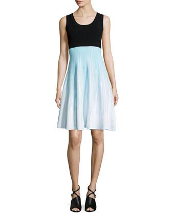 Sleeveless Two-Tone Dress, Turquoise