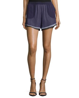 Layered-Chiffon Shorts, Eggplant