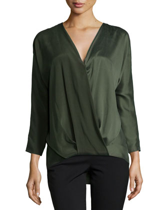 Ally Long-Sleeve Blouson Top, Alligator Green