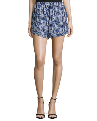 Layered-Hem Printed Shorts, Navy