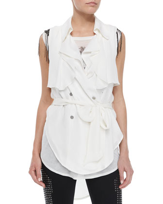 Draped Flap Snap Sleeveless Trench Blouse, Swan