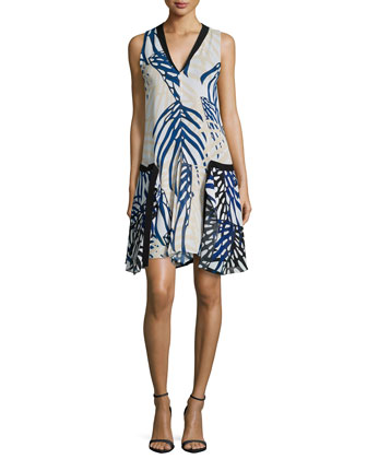 Sleeveless Dress W/Contrast Trim, Blue/Nude/Airbrush