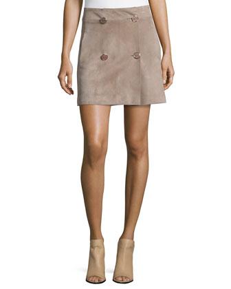 Calla Long-Sleeve Top & Jesse Suede Skirt