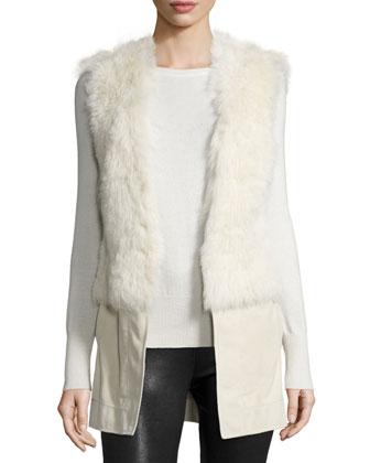 Gabby Reversible Shearling Fur Vest, Snow White
