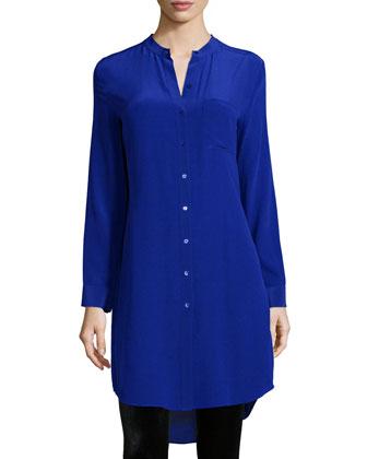 Long-Sleeve Silk Tunic/Shirt, Striped Puckered Silk Scarf & Stretch Velvet ...