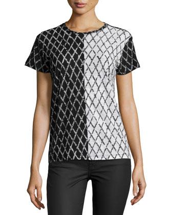 Short-Sleeve Colorblock-Grid Tee, Black/White