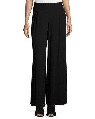 Wide-Leg Georgette Pants, Black