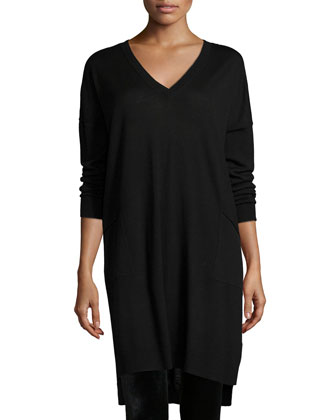 Long-Sleeve V-Neck Jersey Dress