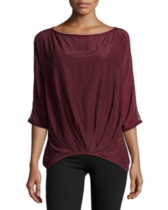 Annette Pleated-Front Top, Cranberry