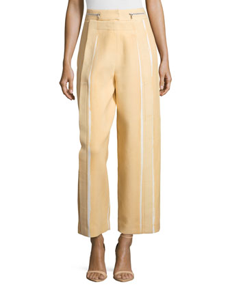 High-Waist Wide-Leg Cropped Pants, Tan/White