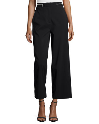 High-Waist Wide-Leg Cropped Pants, Black