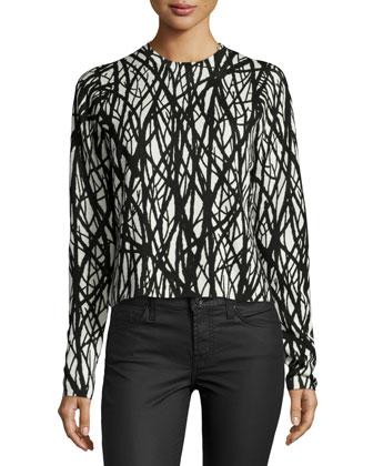 Long-Sleeve Jewel-Neck Printed Blouse, Black/Ecru