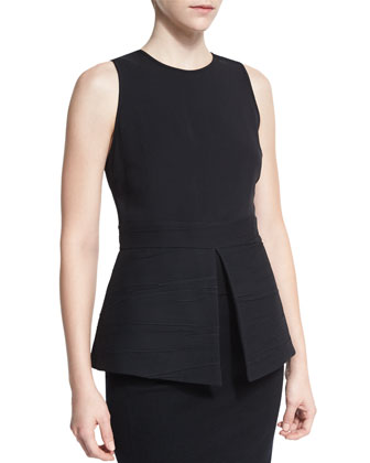Sleeveless Jewel-Neck Flared Top, Black