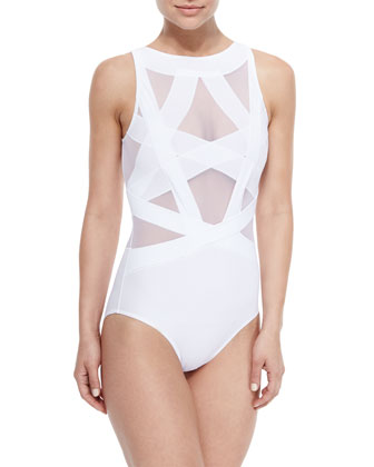 Esther Strappy Mesh One-Piece Swimsuit, White