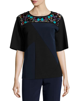Short-Sleeve Colorblock Embellished Top