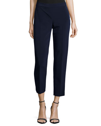 Side-Zip Skinny Pants, Navy