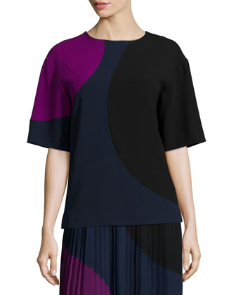 Short-Sleeve Colorblock Crop Shirt & Colorblocked Pleated Maxi Skirt