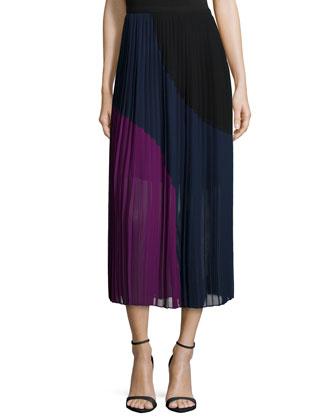 Colorblocked Pleated Maxi Skirt