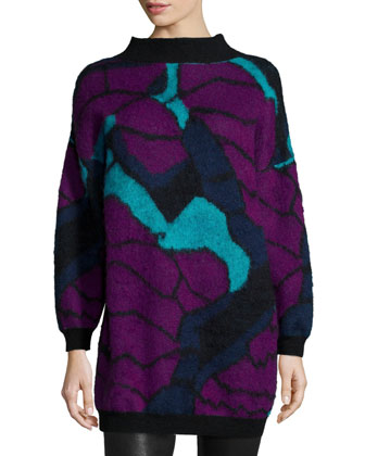 Brushed Mohair Jacquard Pullover